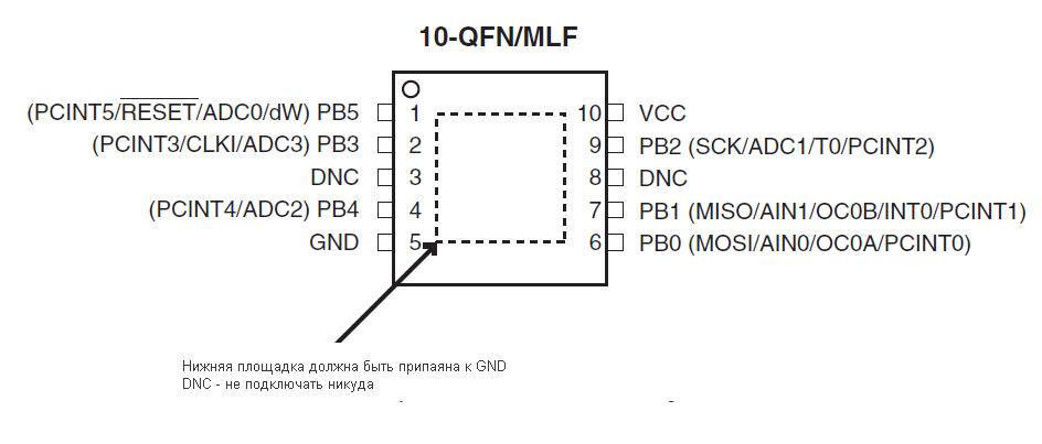 Распиновка Attiny13 в корпусах 10-QFN/MLF
